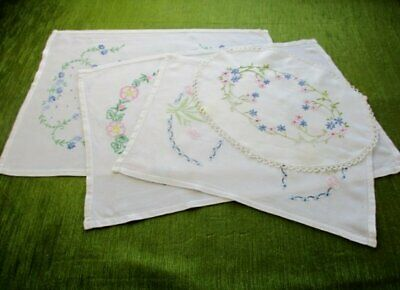 Vintage Tray Cloths - Hand Embroidered - Col. Of 4