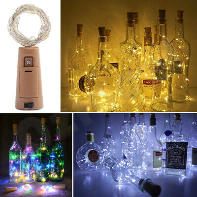 10 20 LED Cork Copper Wire Fairy String Lights Wine Bottle For Xmas Party Decor