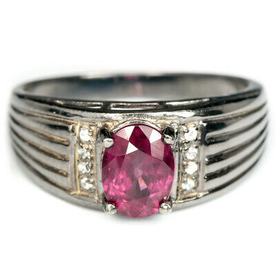 Gemstone Raspberry Red Topaz Ring Silver 925 Size 6.75 Round Cut Weight 1.55 Ct Unheated