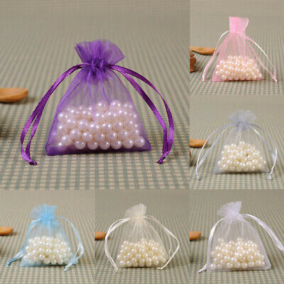 50X Small White Luxury Organza Bags Wedding Favor Pouches Net Jewellery Bag