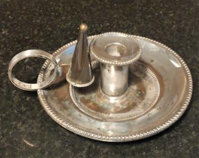 Georgian Sheffield Silver Plate Chamber Stick with Snuffer 1786+