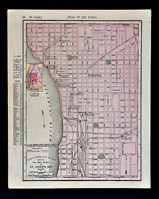 1900 Rand McNally Map - St. Joseph & St. Louis City Plans Missouri Wagon Bridge