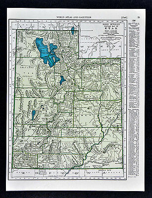c. 1930 Rand McNally Map - Utah - Salt Lake City Provo Ogden Moab Beaver Brigham