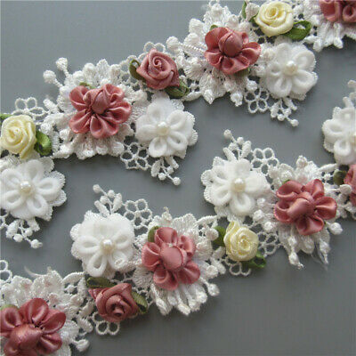 10X White Vintage Pearl Rose Flower Lace Trim Ribbon Wedding Applique DIY Sewing