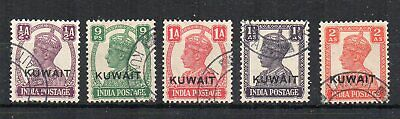 Kuwait 1945 India opt values 1/2a to 2a FU CDS