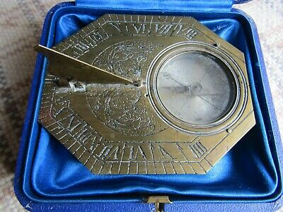 Extremely Rare Late 18Th Early 19Th Century Travelling Pocket Sundial Brass