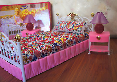 GLORIA FURNITURE DOLLHOUSE SIZE NEW BEDROOM Lighted BEDLAMP PLAYSET