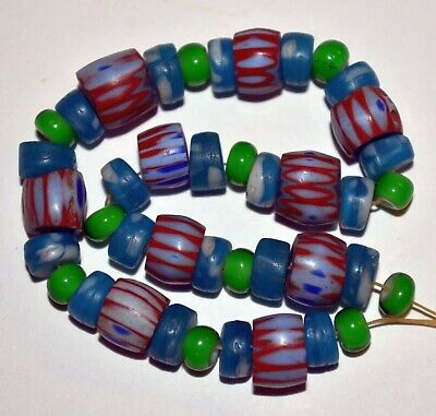 Antique Venetian Awala Chevron Italian Glass Single Layer Beads, African Trade