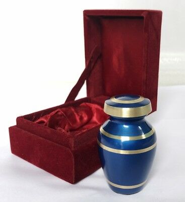 Forever Remembered Blue Small Mini Cremation Keepsake Urn for Human Ashes