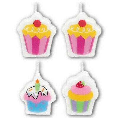 6 Sweet Stuff Colourful Cupcakes Birthday Party Mini Moulded Cake Candles