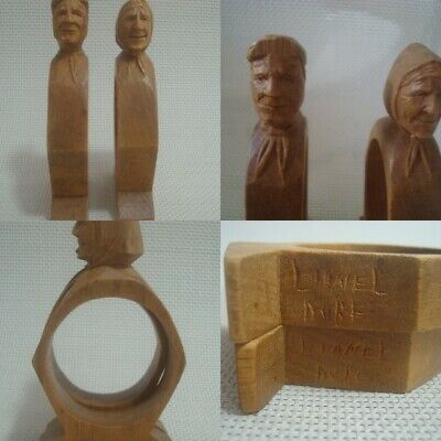 Rare Vintage Lionel Dube wood carving lady and gentleman napkin rings folk art