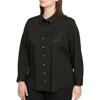 TOMMY HILFIGER NEW Women's Logo-embroidered Button Down Shirt Top TEDO