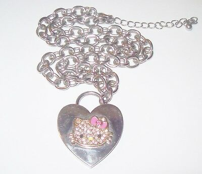 433ff51e9 Vtg Hello Kitty Necklace Rhinestone Heart Padlock 18