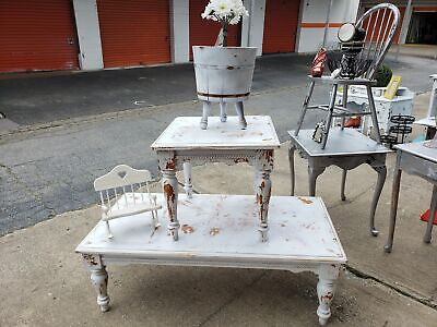 Distressed white coffee and end tables