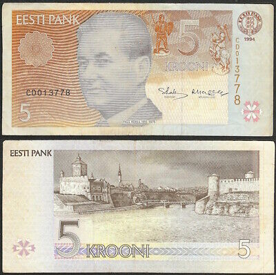 ESTONIA - 5 krooni 1994 (1997) P# 76 Europe banknote - Edelweiss Coins