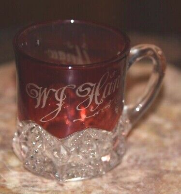 South Carolina Souvenir CHERCAW CARNIVAL SHOT GLASS  RED ETCHED W.J. HANNA c1900