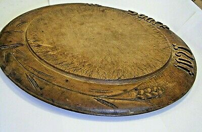 """12"""" ANTIQUE 1800s WOODEN CUTTING BOARD """"SPARE NOT"""" HAND CARVED WHEAT PRIMITIVES"""
