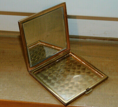 vintage SWISS MADE AGME poudrier Case Box MIRROR miroir ART DECO suisse 1970 OR