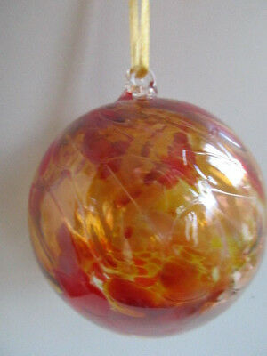 Glass Mouth Blown Spirit of Friendship Ball Shades Honey /Red 8cm Boxed