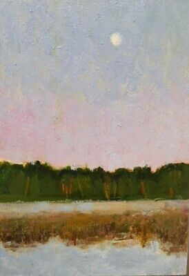 Original Oil Painting by Ross Reynolds, Moonset Over the Annapolis River, 7x5