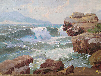 Fine Art Painting Seascape Alexander Dzigurski Oil/canvas 1941
