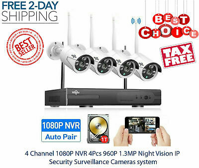 HISEEU 1080p 8CH WiFi NVR 8 Wireless IP IR Video Camera Home Security System 1TB