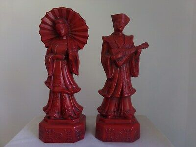 Oriental Figurines, Male And Female, Red In Color Ceramics 15 Inches Tall.