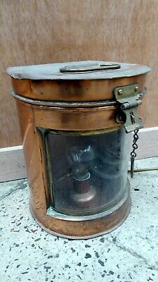 Old Copper And Brass Ships Stern Lamp Light Electric Converted Seahorse Gb