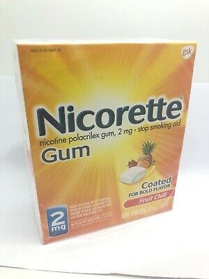 Nicorette GUM 2mg Fruit Chill 100 Pieces Nicotine EXP 2020+ New In Box  Sealed