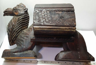 """Old Vintage to Antique Carved Wooden Folk Art Camel Box. 9.25"""" Tall x 13"""" Long."""