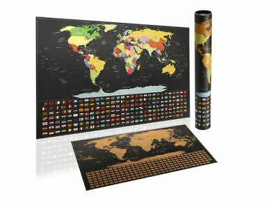 Travel Tracker, Big Scratch Off World Map, Poster with Country Flags,Travel Map