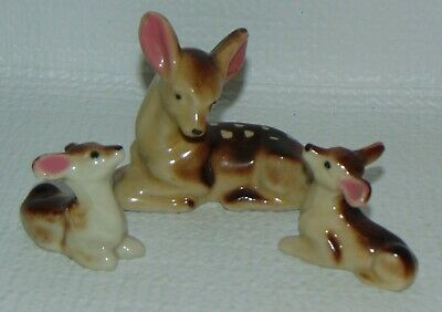 Vintage Porcelain Doe and 2 Fawn Made in Japan