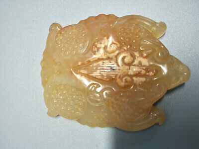 Chinese Exquisite Hand-carved old jade Toad pendants [jīn chán] H32