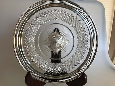 Antique Well Crystal Cut Glass Plate With Watson Sterling Silver Reticulated Rim