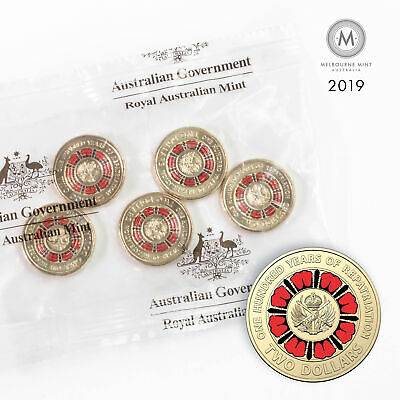 2019 Australian Two Dollar $2, Hundred Years of Repatriation Mint Bag (FV $10)