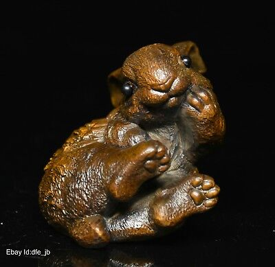 Collect Chinese Folk Feng Shui Boxwood Wood Carved Zodiac Rabbit Statue Figurine