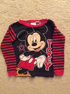 Disney Mickey Mouse Long Sleeve Black & Red Shirt Boys Size 2T- FREE SHIPPING!!!