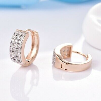 Sparkly Sapphire Crystal Gold Filled Hoop Earrings Promise Women Bridal Jewelry