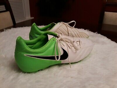 huge discount 3d402 10bfc Nike Mens Rare T90 Shoot IV FG 472547-170 White Lime Green Soccer Cleats  Size