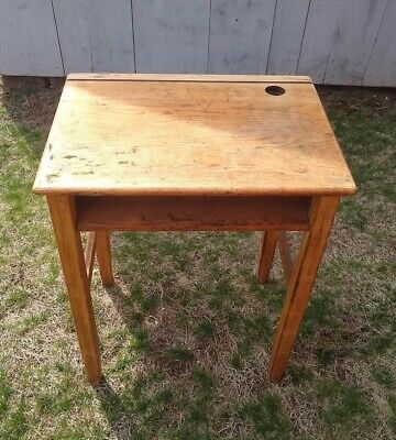 Antique Vintage Connecticut School Desk with Ink Well Space and Shelf