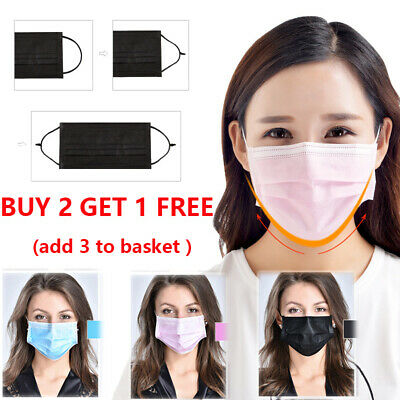 50x Disposable 3 Ply Surgical Dental Nail Salon Dust Medical Face Mask buy2get1