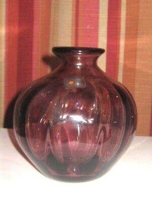 "Mid Century Blenko Amethist Hand Blown Art Glass Vase 5 1/2"" Tall Very Nice"