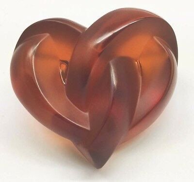 Authentic Lalique Red Crystal Entwined Knotted Heart Paperweight NIB