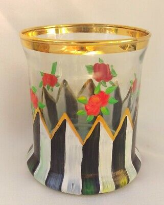 Mackenzie Childs CIRCUS Hand Painted Glass CAROLYN Old Fashioned Tumbler