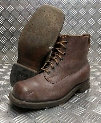 Genuine Vintage Leather Laced 1962 Brown 7 Eyelet Leather Sole Boots Size Eur 43