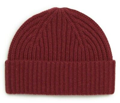 Nordstrom Men's Red Ruby 100% Cashmere Ribbed Cuff Beanie Hat