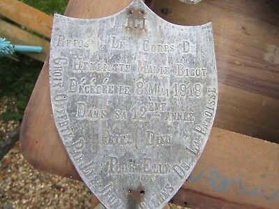RARE FRENCH ZINC METAL MEMORIAL HEARTSHIELD PLAQUE VINTAGE MORI MORNING 1 left