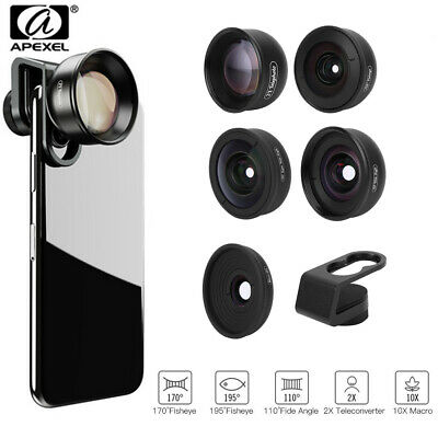 APEXEL 5-in-1 Fish Eye+Wide Angle+Macro+Teleconverter Lens Kit w/ Clip for Phone
