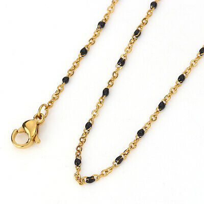 Stainless Steel Link Cable Chain Necklace Gold Plated Enamel Jewelry Findings