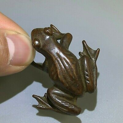Old Collectible Antique Copper Handwork Chinese Rare Little Frog Prince Statue